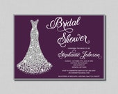 Plum and Silver Bridal Shower Invitation plum Penelope BR05 Digital or Printed