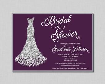 Plum and Silver Bridal Shower Invitation plum Penelope BR05 Digital or Printed