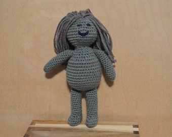Doll, Crocheted Doll, Green and Gray
