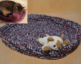 Cat Bed, Crocheted Cat Bed, Blue and Raspberry