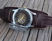 Modified USSR men's watch Raketa - 1960's,mens watch, leather watch, vintage mechanical watch, steampunk watch, skeleton watch