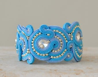 Statement bracelet - soutache bracelet - birthday gift for wife - colorful bracelet - blue wedding bracelet - cuff bracelet gift for mom