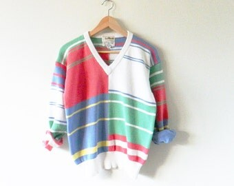 Candy Stripe Vintage Sweater / Preppy 80s Golf Sweater / Vintage Country Club Pullover