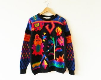 Crazy Vintage Abstract Tribal Aztec Sweater / Rad 80s Abstract Sweater / Neon Geometric Statement Sweater
