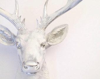 CUSTOM WHITE-SILVER Rub-Brush Finish xl Faux Taxidermy Deer Head wall mount wall hanging / faux deer / stag/ chic /