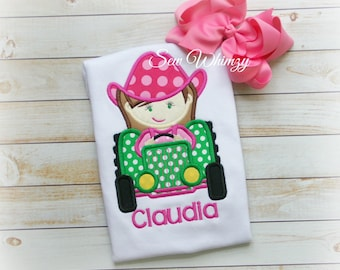Tractor Girl Shirt- Farm Girl Shirt- Country Girl Shirt- Birthday girl- Tractor Farm shirt- Cowgirl shirt- Monogram tractor shirt- Country