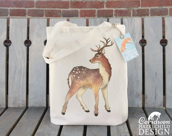 Reindeer Tote Bag, Christmas Bag, Ethically Produced Reusable Shopper Bag, Cotton Tote, Shopping Bag, Eco Tote Bag, Christmas Bag