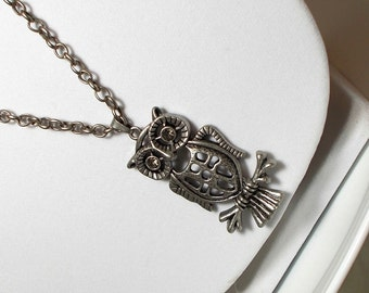 Antique Silver Owl Pendant With Rhinestone Eyes Long Chain Necklace, Owl Necklace, Bird Necklace