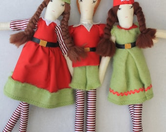 SALE Christmas Elf Ragdolls: Handmade from Vintage and Recycled Materials, Cloth Doll, Christmas Dolls, Elves