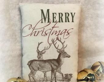 SALE Reindeer Farmhouse Merry Christmas Pillow Tuck