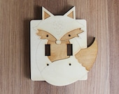 Wood Laser Cut Fox Light Switch Plate / Cover (double switch)