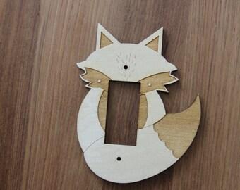 Wood Laser Cut Fox Light Switch Plate / Cover (Rocker)