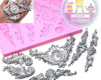 Art Nouveau Scrolls Baroque Feather Crown Corner Silicone Mold 470L Fondant Gumpaste Polymer Clay Chocolate Melt Best Quality