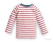 toddler red white striped shirt, organic cotton kids top with stars, 100% organic cotton