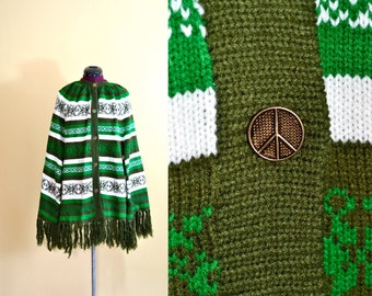 1960s Vintage Green Peace Sign Fringed Knit Poncho - one size