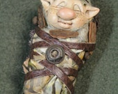Reserved for Lisa//Troll Baby Changeling Sweet button nose with Freckles and antique button measures 3 1/2 inches