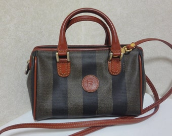 Vintage FENDI pecan stripe mini handbag, shoulder purse with brown leather strap and handles. Fendi classic bag