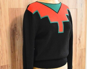 1980s lightweight black southwestern sweater in red and green, minimalist southwestern sweater, eighties fitted Christmas party sweater
