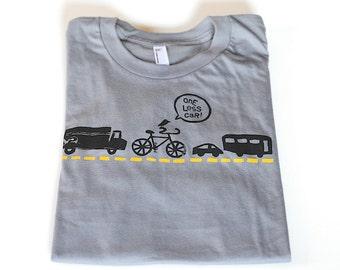 Men's Bicycle Tshirt, Bicycle Silkscreen Graphic Tee, Bike Shirt, Onle Less Car T Shirt, Bike Tee for Him