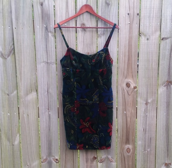 S M Small Medium 90s Guess Velvet Dark Floral Print Sexy Hipster Indie Alternative Grunge Short Mini Party Prom Dress Sundress