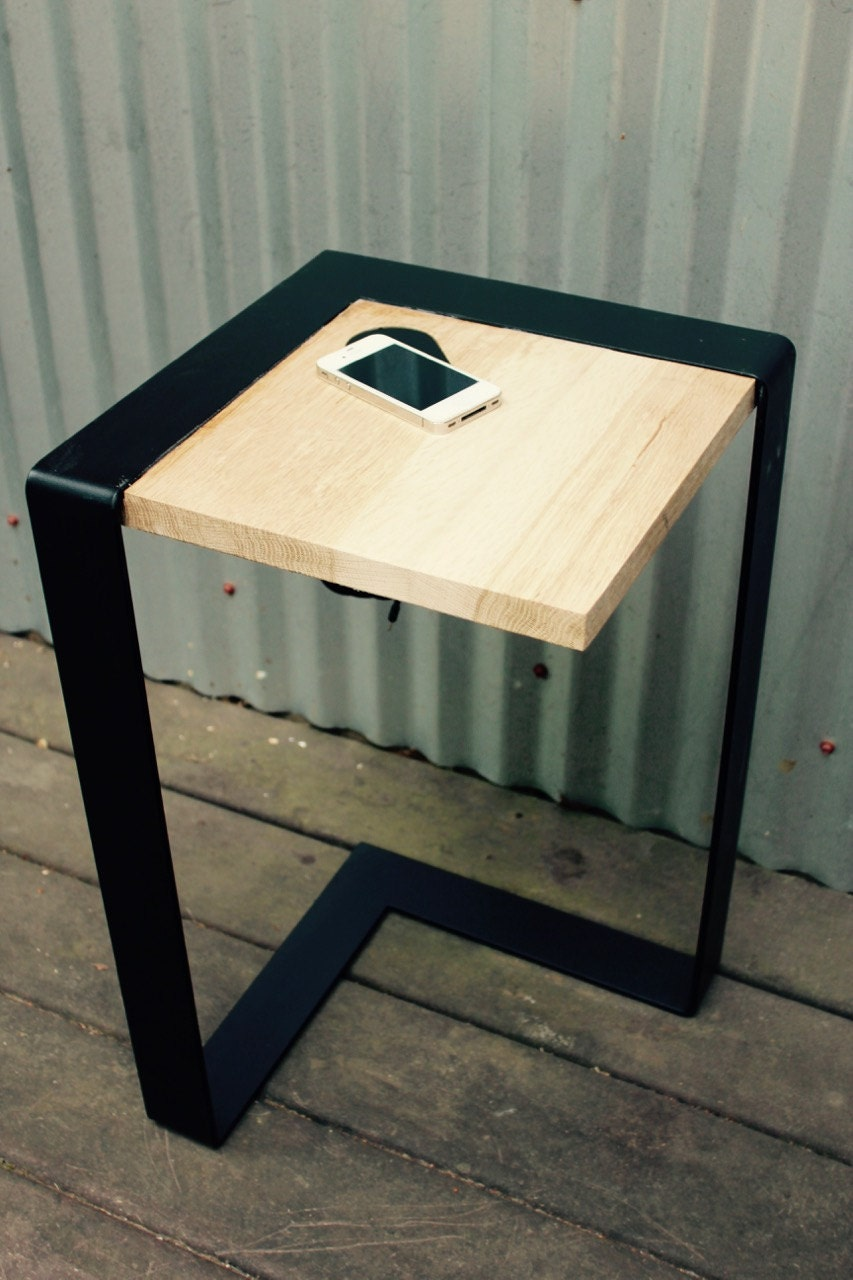 Wireless Charging Table Wood Side Table Modern Table