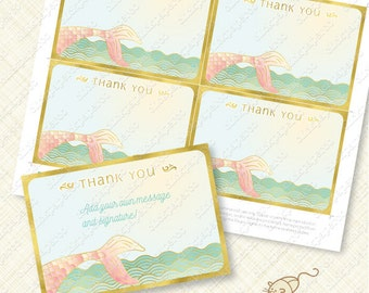 Blush Pink Mermaid Thank You Card printable instant download editable pdf gold effect tail under the sea mint green thanks greeting ocean