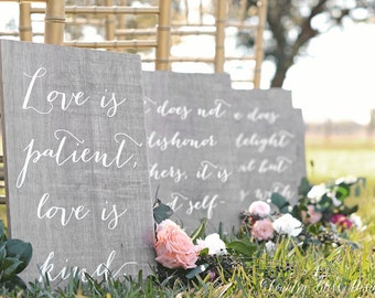 1 Corinthians 13 signs, Love is Patient Love is Kind, Love Never Fails signs, Wedding Verse Signs, 1 Cor 13 Sign, Wooden Wedding Signs