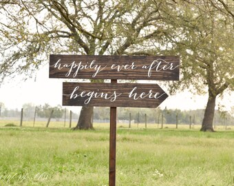 Happily Ever After Begins Here Wedding Sign,  Wooden Wedding Signs, Custom Wedding Signs, Reception signs, Calligraphy Wedding Signs