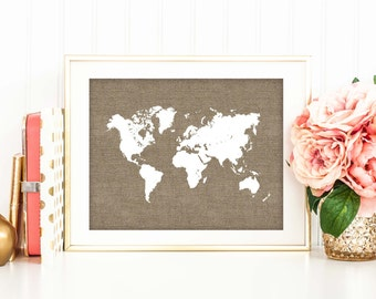 Travel Home Decor view in gallery add some adventure to your interiors with travel inspired black and white canvas Rustic Chic Office Decor Burlap World Map Print Travel Poster Nursery Art