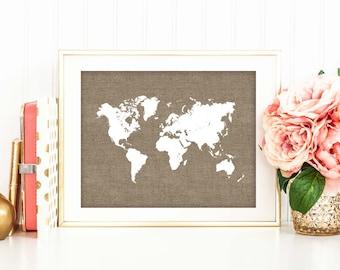 Travel Home Decor vintage custom map drawer pull Rustic Chic Office Decor Burlap World Map Print Travel Poster Nursery Art