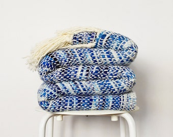 """RESERVED Wool Sofa Blanket, Blue thick thin handwoven throw, Bedroom decor gift 102"""" x 53"""""""