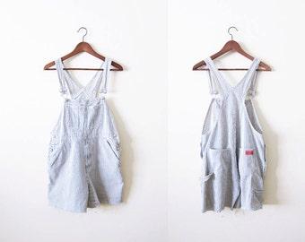 Overall Shorts / 90s Railroad Stripe Denim Overalls / Womens Shortalls / Short Overalls