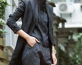black linen jacket blazer, formal linen trenchcoat in black, black fall jacket, linen shirt top, linen blouse top, stylish coat