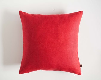 Red throw pillow- linen pillowcover - red decorative pillow case - red pillow case - red cushion case - red linen pillow - red pillows  0366