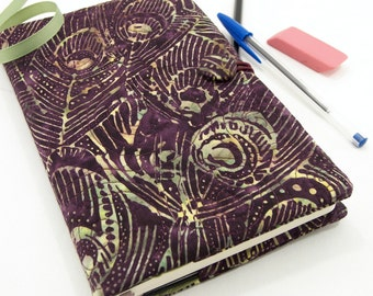Peacock Journal Cover, Purple Moleskine Cover, Writing Journal, Quilted Diary - Peacock Feathers in Green and Tan on Aubergine
