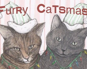 Furry Catsmas Postcard - 10-pack