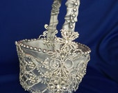 custom silver  flower girl basket with lots of bling flower girl accessory