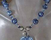 "Dumortierite Necklace c/w Dumortierite Pendant - 20"" lg (51cm) - Sterling Silver Finish"