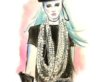 Fashion illustration gliclée fine art print from original watercolor