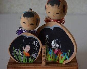 Pair of kokeshi dolls, vintage Japanese