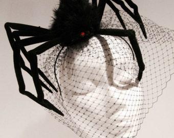 Spider Fascinator- Halloween Fascinator- Spider Headband- Spider Costume- Birdcage -Black Fascinator- Black Widow- Halloween Costume