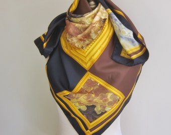 """Paloma Picasso silk scarf, large square silk scarf. carre, black and brown, made in Italy, 34"""",  , picture gallery scarf"""