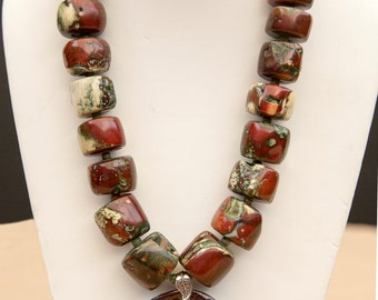Magnificent Burgundy Bamboo Necklace