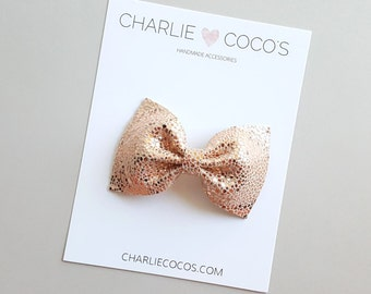 """Baby / Girls Leather Bow Headband, Leather Hair Bow Clip, Genuine Leather Baby Bows """"Metallic Rose Classic"""" charliecocos"""