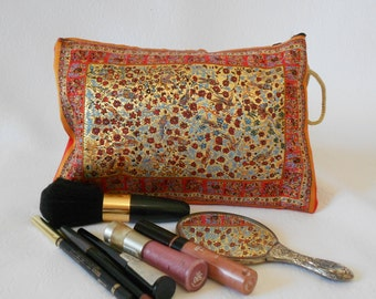 Orange Clutch, Metallic Gold, Cosmetic Bag, Bohemian Clutch Bag, Travel Bag, Makeup Pouch, Coin Bag, Mother's Day Gift, Monedero