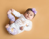 Personalized Baby Girl Coming Home Outfit Lavender Gold Glitter Headband Leg Warmer Newborn Girl Outfit Clothing Gift Hospital Take Home