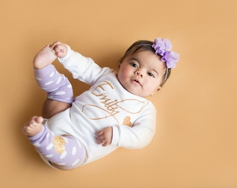 Personalized Baby Girl Coming Home Outfit, Clothes Lavender Gold Glitter Headband Leg Warmer Newborn Girl Clothing Gift Hospital Take Home