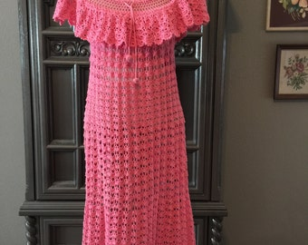 50s Crocheted Pink Cotton Peasant Dress