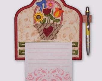 Heart Basket of Folk Flowers Magnetic Embroidered Notepad Holder