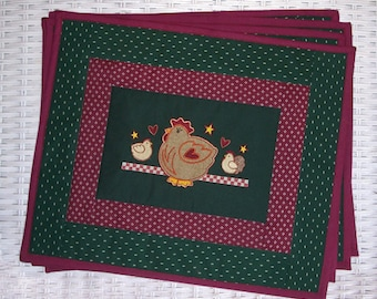 Country Applique Chicken Embroidered Placemats